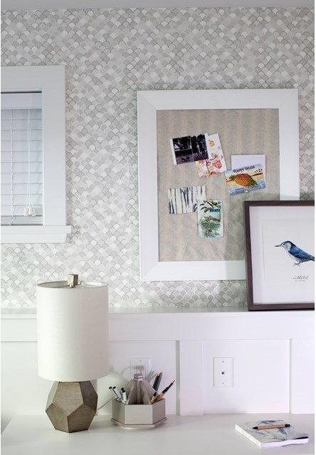 Grey scallop-patterned office wallpaper