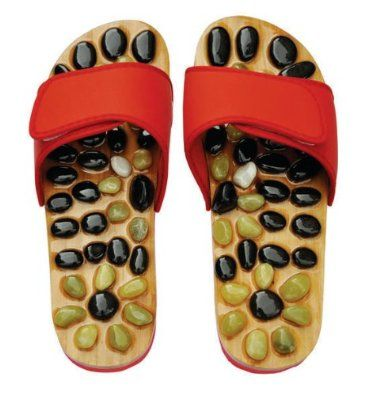 Reflexology Sandals - Natural Stone Massage Shoes and Sandals    Look at these!  Rocks in your shoes...