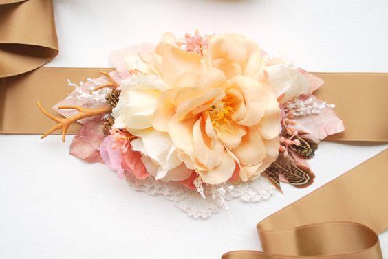 Rustic Rose Bridal Flower Sash Cream Brown Pink by HansHolzkopf