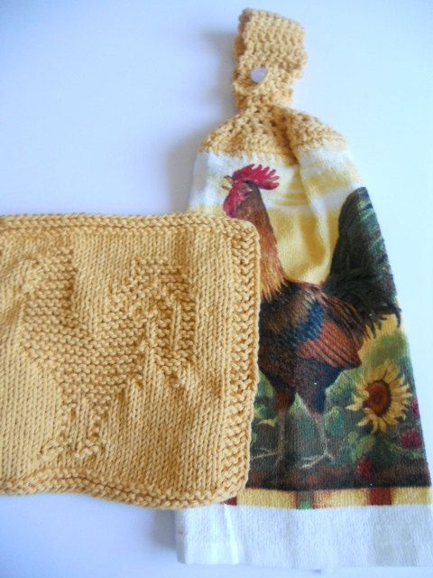 Set of rooster theme  Tea Towel and matching by needlepointnmore,