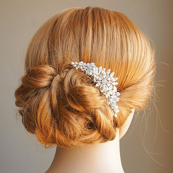 Wedding Crystal Hair Comb Freshwater Pearl and by GlamorousBijoux