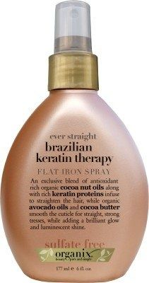 Organix Ever Straight Brazilian Keratin Therapy Flat Iron Spray, 6 Ounce $5.59! I try not to use a lot of hair products, but when I flat iron my hair, this helps- A LOT :)!