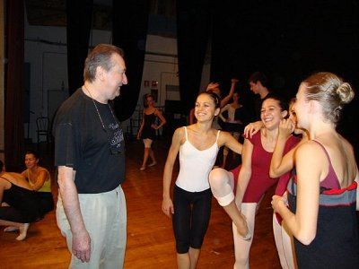 Friendly chat with faculty member and French-born and US resident, choreographer, director and master teacher Jean-Paul Comelin.