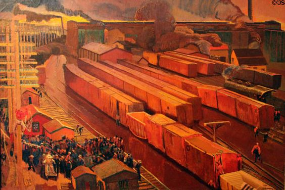 Railroad Yard, Meeting Called painting (c1950) by Ernest L. Blumenschein at Blumenschein Home & Museum. Taos, NM.