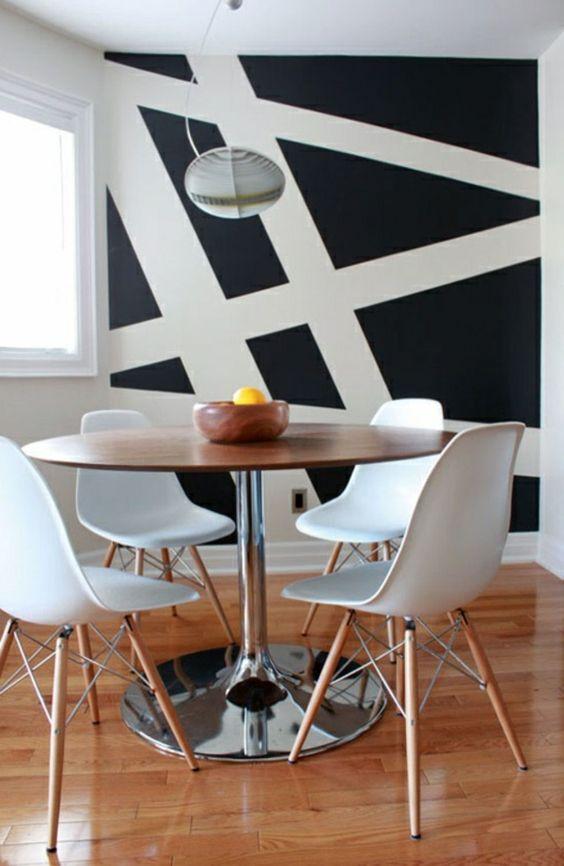 asymetrische weiße linie - schwarze wand im zimmer - 62 kreative Wände streichen…