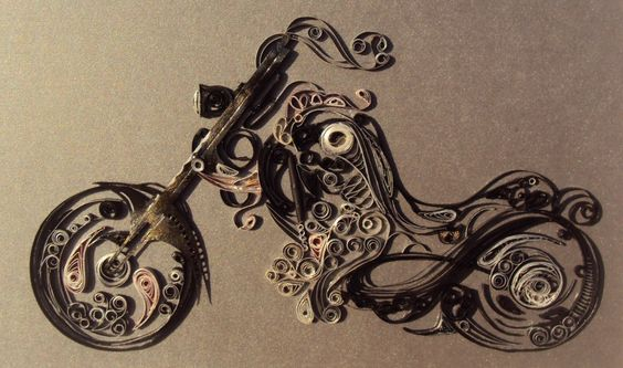 Quilled Motor Cycle-her latest quilling project - by: Maria Cvetanova - www.facebook.com/photo.php?fbid=194771584005036=o.361396720585032=1