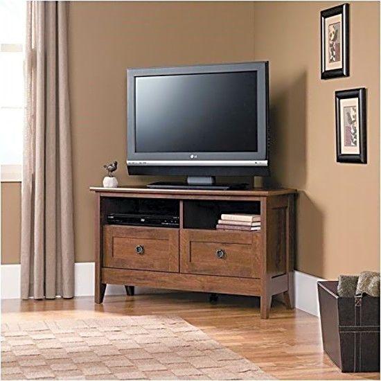 Tv Stand Entertainment Media Center Furniture Cabinet Mission Style Corner Unit Oak Corner Tv Stand Corner Tv Stands Flat Screen Tv Stand