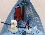 Model magic snowman diorama