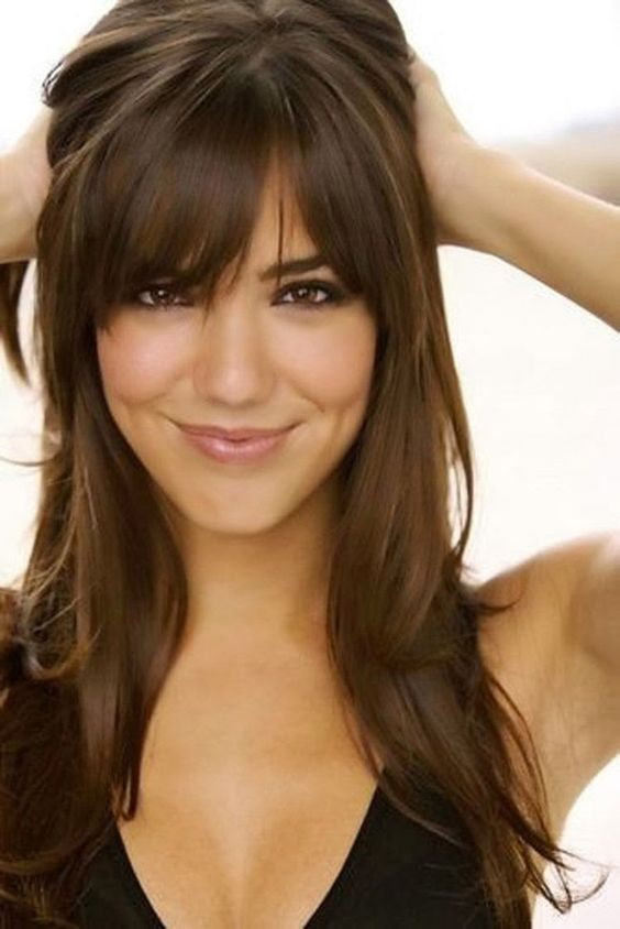 Long, layered hairstyle with bangs. http://beautyeditor.ca/2015/01/02/long-hair-easier-to-manage