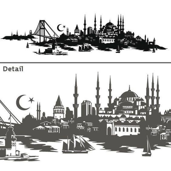 Simple Wandtattoo Skyline Istanbul T rkei Turkiye Wandsticker Deko T rkisch Stadt eBay A A DESEN Pinterest