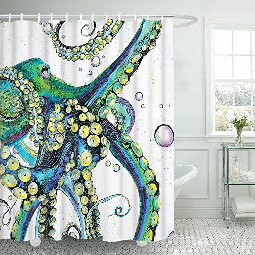 Smurfs Yingda Colorful Octopus Shower Curtain In 2020 Nautical
