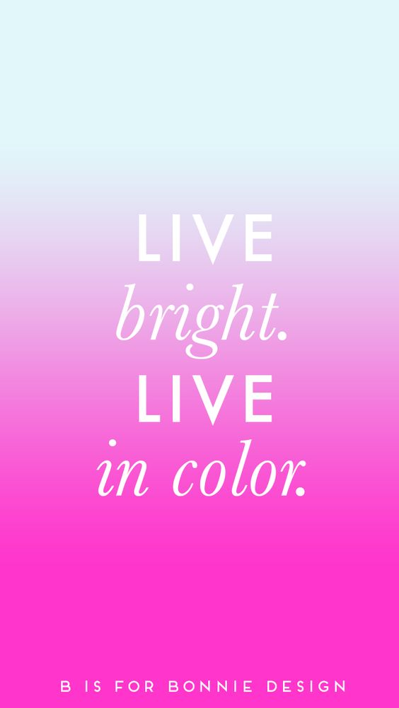 'Live bright' pink blue ombre iphone wallpaper background ...