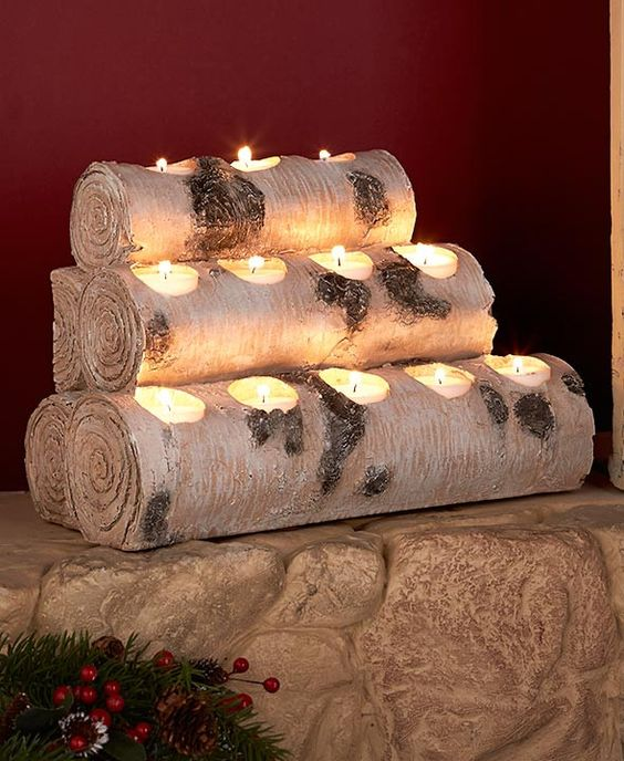 Birch wood look tea light candle holder tree stump log for Log candle holder how to make
