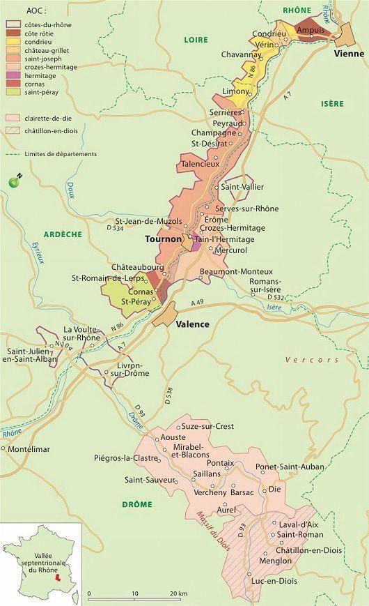 Carte Des Vins Du Rhone Septentrionale Wineeducation En 2019