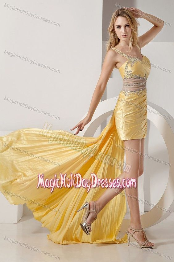 Sexy Yellow High-low Beaded Holiday Dresses For Teenagers with Straps