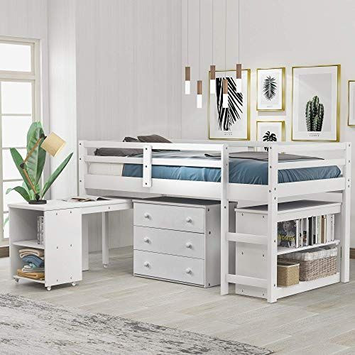 The Loft Bed Low Study Twin Loft Bed Cabinet Rolling Portable