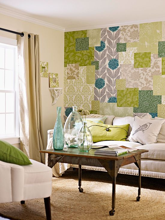 Create an accent wall with a patchwork of coordinating wallpaper scraps.