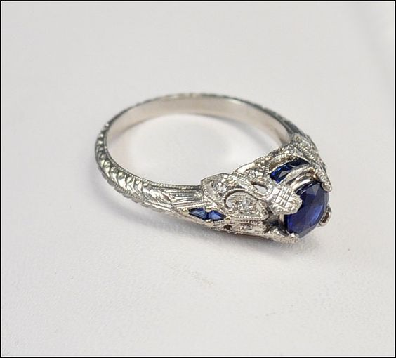 Antique Art Deco Ring Platinum Diamond Engagement Ring by boylerpf, $4,000.00