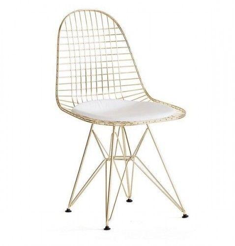 Krzeslo Metalowe Gold Zlote Loft Poduszka Wire Chair Wire Dining Chairs Chair