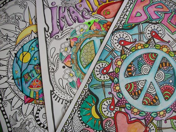 hippie coloring pages - the poster collection by justgivemepeace on etsy