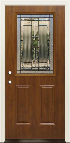 Oak Finish Steel Entry Door With Mission Style Glass Panel