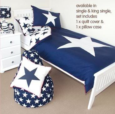Penny Scallan Navy Star King Single Quilt Cover Set $179 | Bentley ... : king single quilts - Adamdwight.com