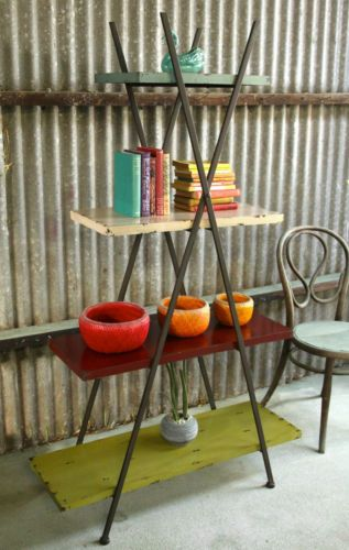 NEW Colourful Retro Industrial Metal Triangle Cross Shelf Units Bookcase in Keysborough, VIC | eBay