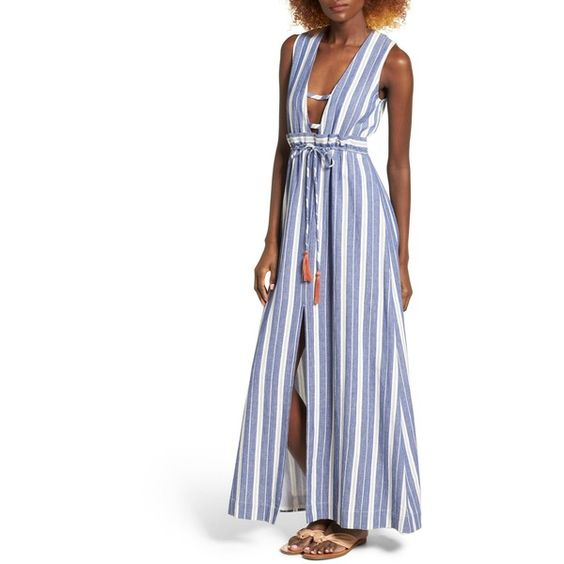 Tularosa Essie Stripe Maxi Dress ($198) ❤ liked on Polyvore featuring dresses
