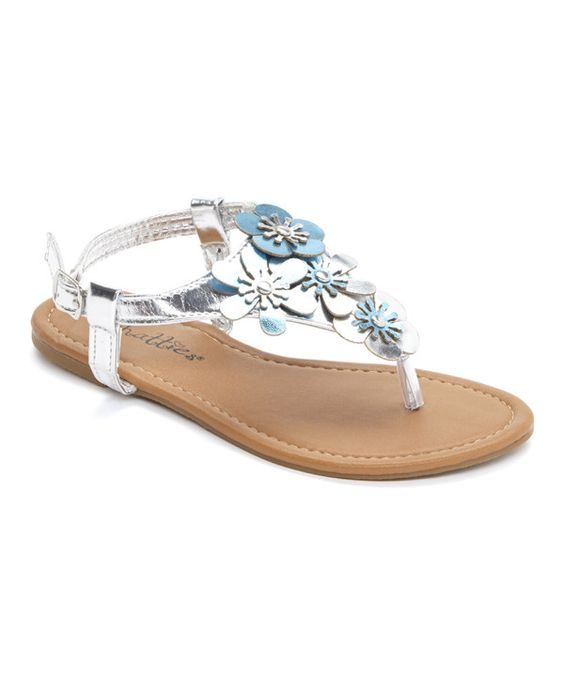 Look at this Chatties Silver & Turquoise Metallic Flower Sandal on #zulily today!