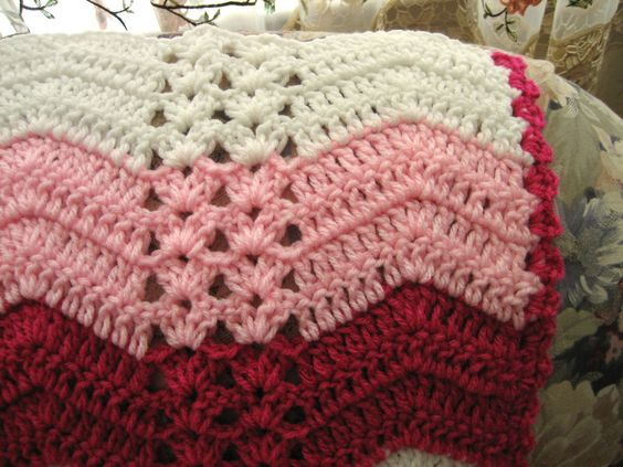 White Chocolate Strawberry Double Shell Ripple Stitches
