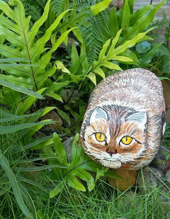 pintura em pedra decoração para casa e jardim                              …
