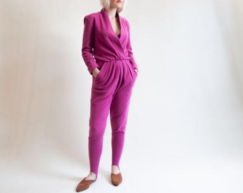 vtg 80s pink fuschia stirrup pants textured ribbed petite wrap boho jumpsuit s in Clothing, Shoes & Accessories, Vintage, Women's Vintage Clothing, 1977-89 (Punk, New Wave, 80s), Dresses | eBay