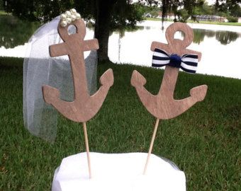 Nautische Anker Bride & Groom Cake Topper/Navy Hochzeit/Coast Guard Hochzeit/Marine/Hochzeitsschleier und Zylinder/Herr und Frau/Bow tie/brown/Perlen /