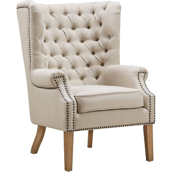 TOV Furniture Abe Beige Linen Wing Chair ($460) ❤ liked on Polyvore featuring home, furniture, chairs, accent chairs, beige, high back accent chairs, high back wingback chair, linen wingback chair, linen chair and cream accent chair