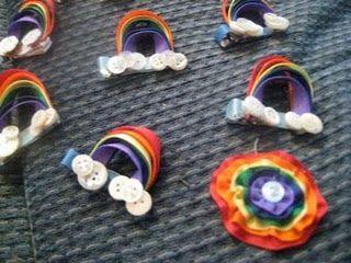 Rainbow hair bows!