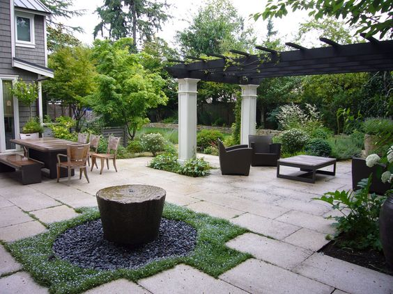Courtyard and water feature with traditional style pergola for Courtyard stone landscape