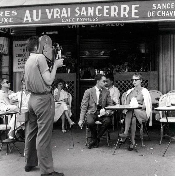 """© Raymond Cauchetier Tournage du film """"A bout de souffle"""" de JL Godard"""