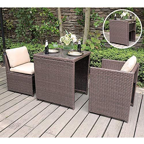 Sunsitt Outdoor Wicker Bistro Table Set 3 Piece Patio Furniture Set With Cushions Space Saving Des In 2020 Outdoor Bistro Set Outdoor Patio Set Rattan Patio Furniture