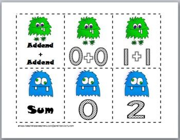 Monster Addition Doubles and Doubles Plus 1 Matching Cards + Recording Sheets (color and b+w)