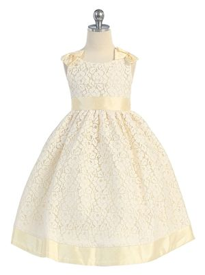 girls' white and yellow floral lace dress | yellow flower girls dress