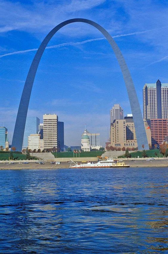 The Saint Louis Gateway Arch, on the banks of the Mississippi River,  commemorates Thomas Jefferson and symbolizes the door to the American West.