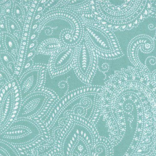 Half moon modern fabric by moda paisley in aqua 1 yard for Moon pattern fabric