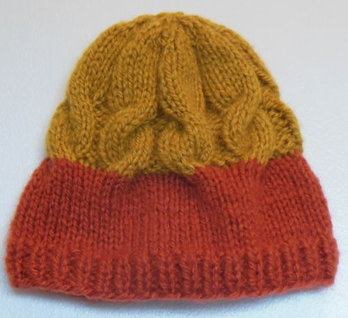 "Persimmon Hat I recently made another hat out of orange and yellow Lion Brand ""Jiffy"" yarn, and had a lot left over.  Since it is nearly the winter holiday gift exchange time of year, I have had goals to make hats for all of my family members.  I have a lot of Jiffy left, and I want to use it up.  Persimmon is the theme color, at least around here.   Craft: Knitting Needle: US 10 - 6.0 mm DPNs and 16"" circular (optional). Yarn: Lion Brand Jiffy Solid Colorways: Paprika ..."