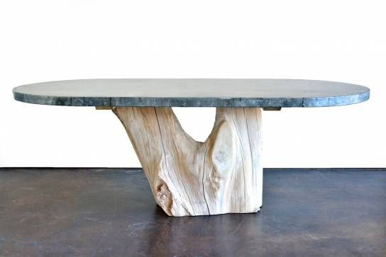Natural double tree trunk base dining table artisan zinc for Tree trunk dining table