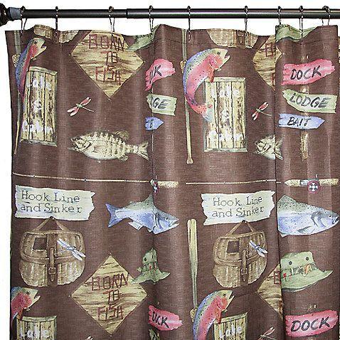 Born To Fish 70 Inch X 72 Inch Fabric Shower Curtain Fabric