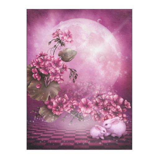 Pink Easter Rabbits Fleece Blanket