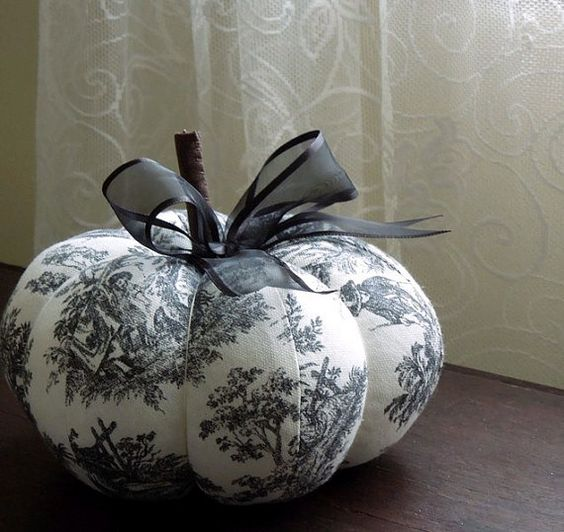 black and white toile pumpkin decorative autumn fall decor. Black Bedroom Furniture Sets. Home Design Ideas