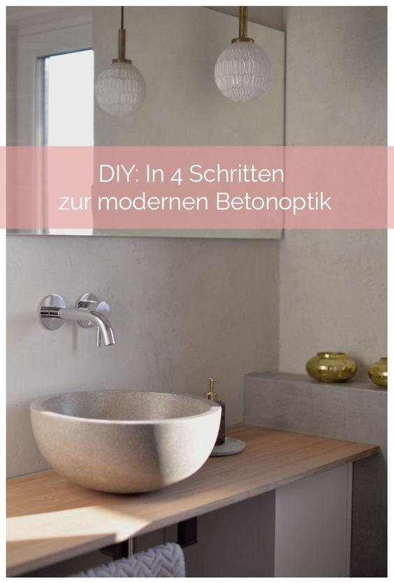 Makeover In 4 Schritten Zur Modernen Betonoptik Im Badezimmer Betonoptik Badezimmer Dekor Diy Badezimmer