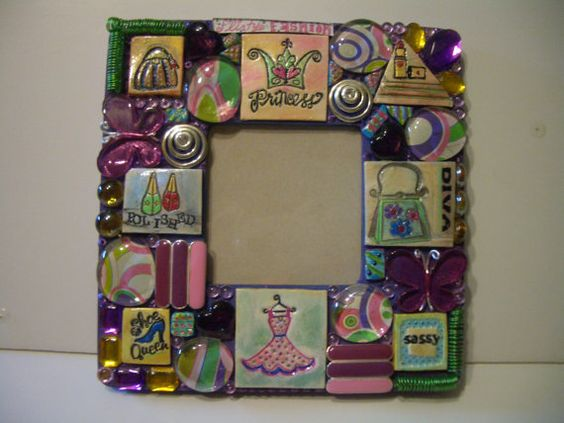Mixed Media Mosaic Frame OOAK by chunk on Etsy, $45.00