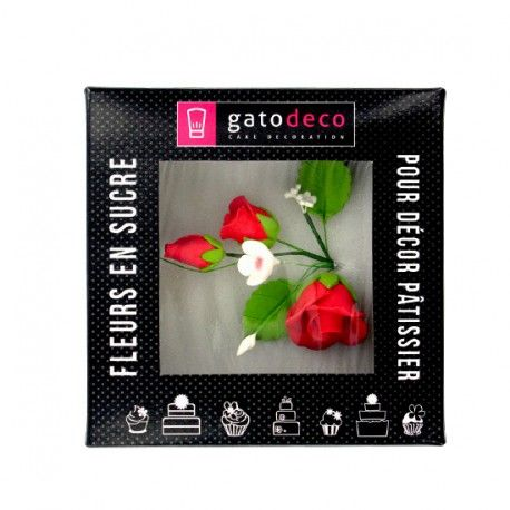 Bouquet de roses rouge en pastillage Gatodéco